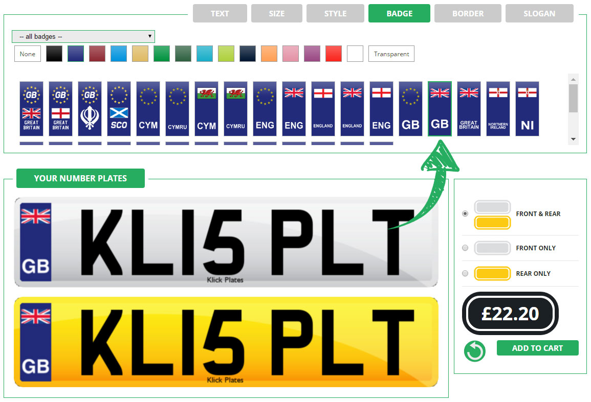 Enter your number plate badge