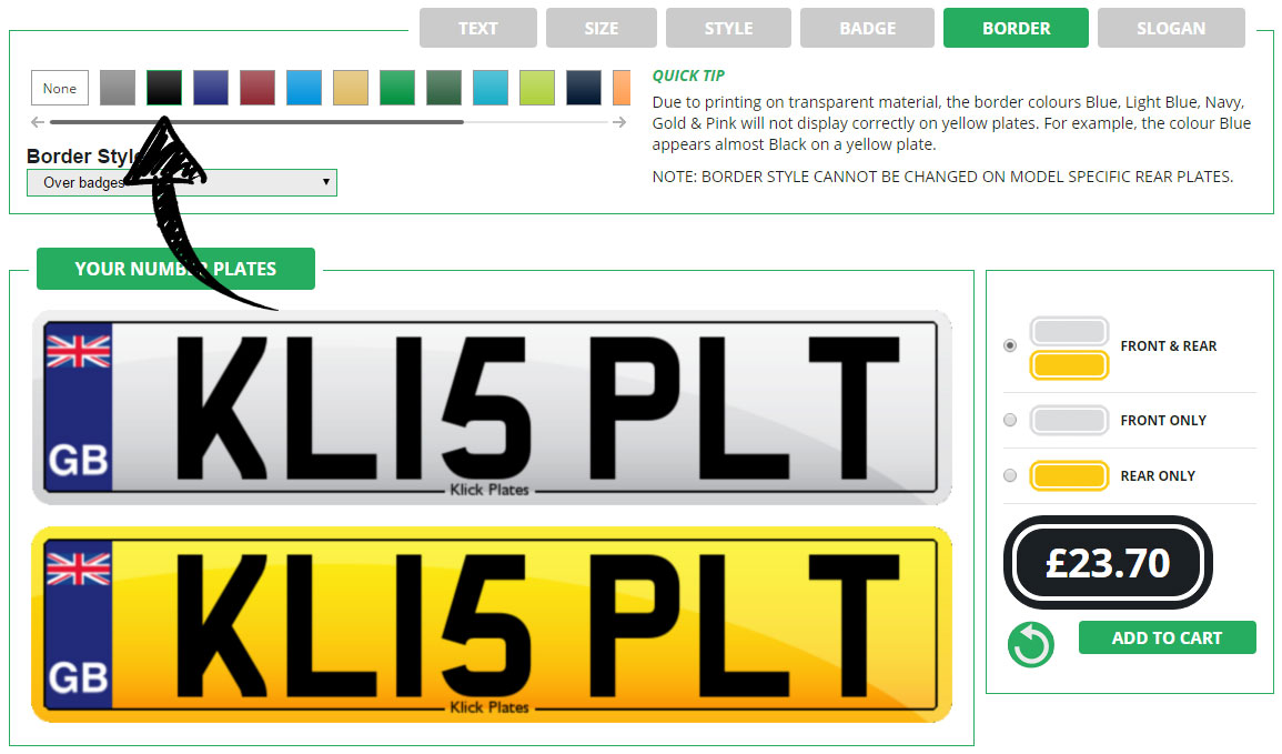 Enter your number plate border and colour