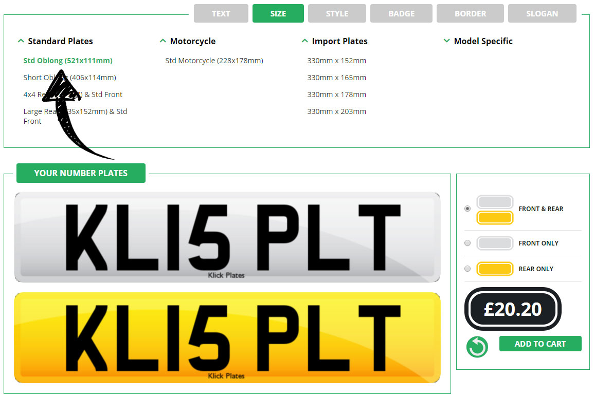 Enter your plate size in the number plate maker