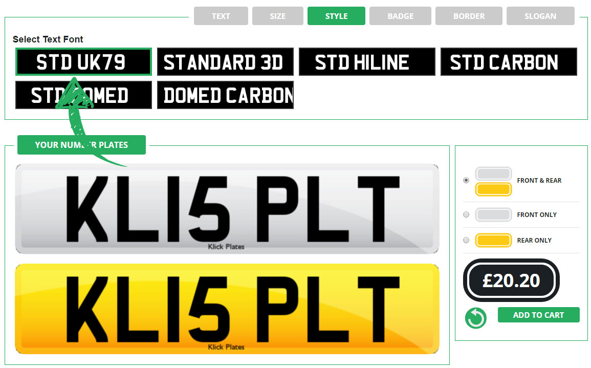 Enter your replacement number plate's text style