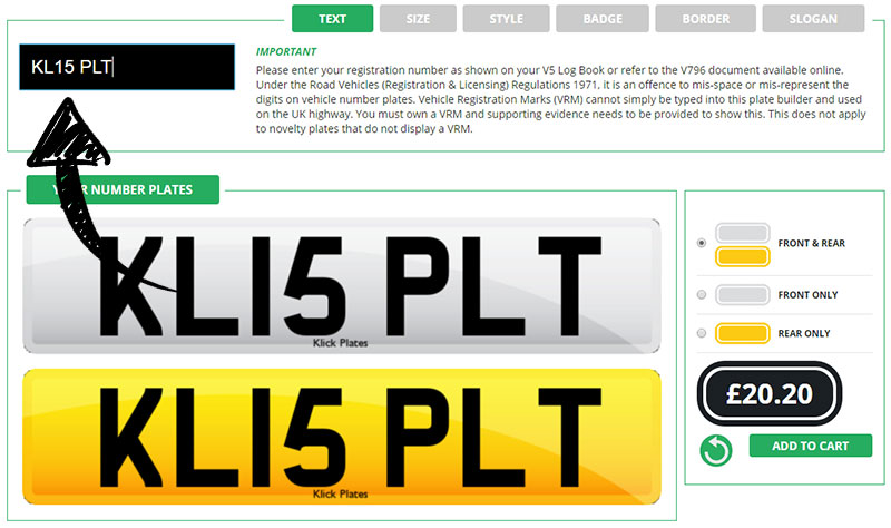 Enter your text here for you replacement number plate