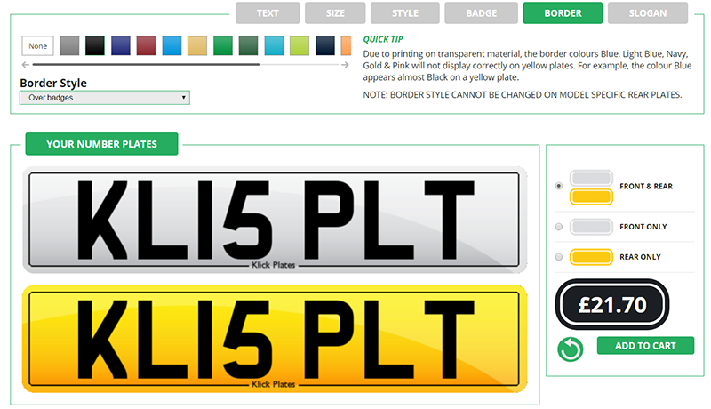 How to change Number Plate Borders on Klick Plates